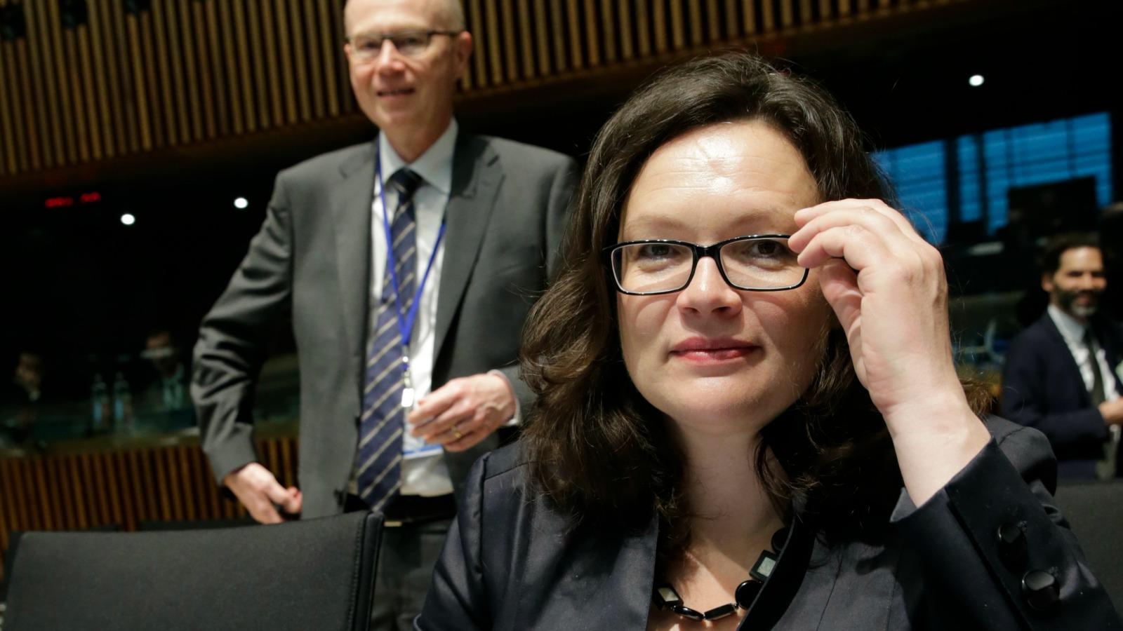 Andrea-Nahlesová - nemecká ministerka práce, sociálnych vecí a rodiny na pôde Európskej rady. (EurActiv.com)