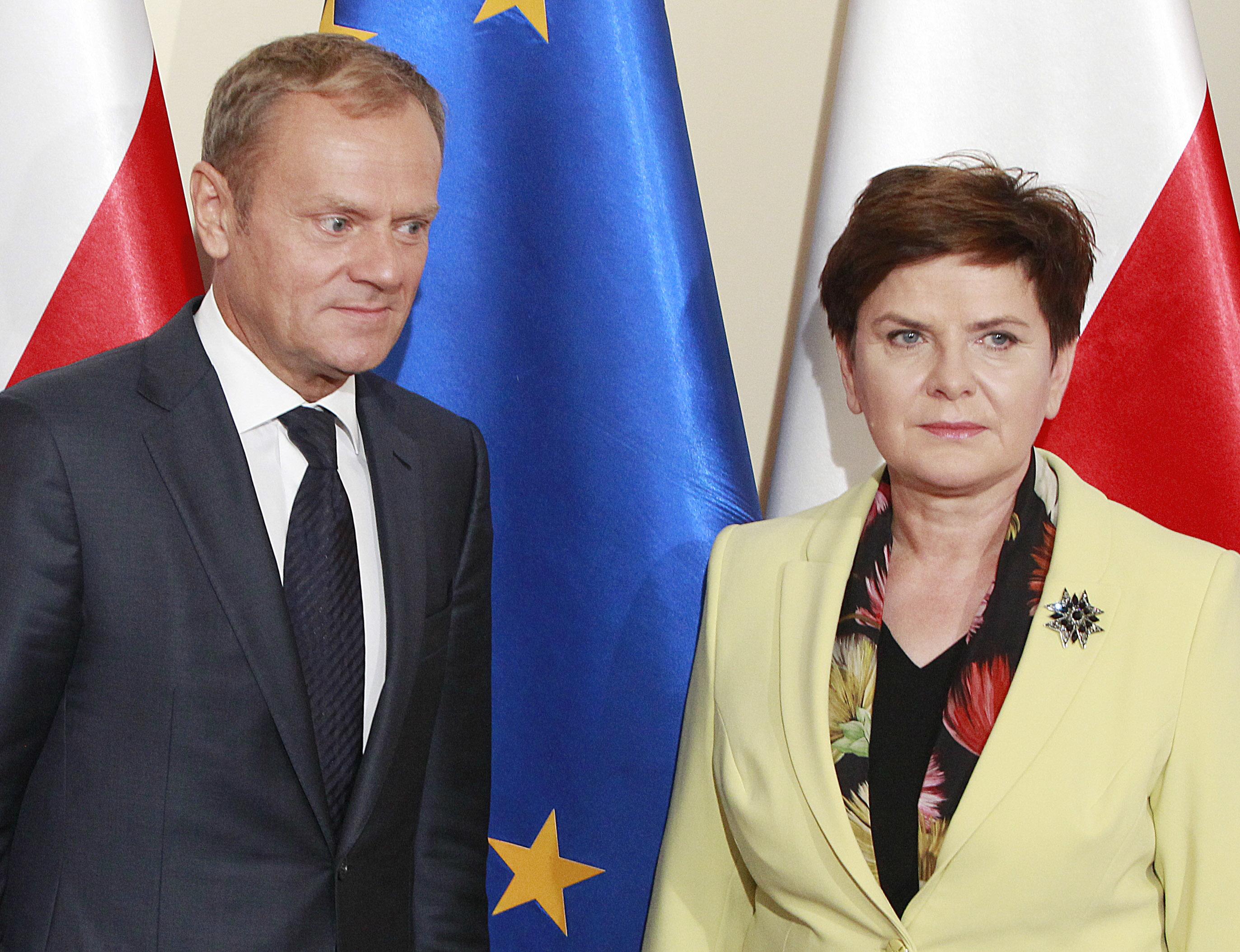Tusk (vľavo) a Szydlová