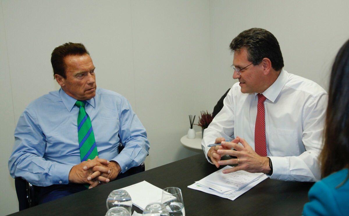 Arnold Schwarzenegger a Maroš Šefčovič